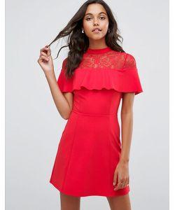 Asos | Короткое Приталенное Платье С Кружевной Вставкой