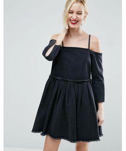 Asos | Черное Выбеленное Джинсовое Платье С Открытыми Плечами И Складками
