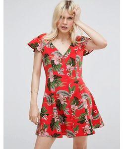 Asos | Чайное Платье На Пуговицах С Тропическим Принтом
