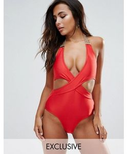 Wolf & Whistle | Chain Detail Cross Front Swimsuit