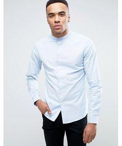 Asos | Голубая Узкая Оксфордская Рубашка В Строгом Стиле С Воротником На Пуговице