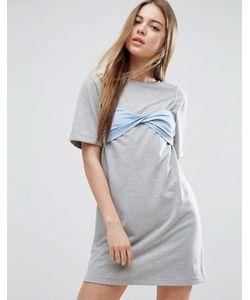 Asos | Платье-Футболка С Контрастным Бюстгальтером В Полоску