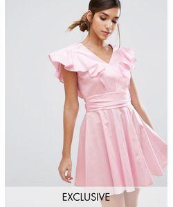 Closet London | Хлопковое Короткое Приталенное Платье С Оборками