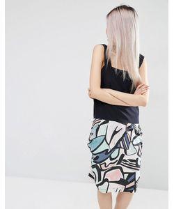 ASOS WHITE | Шелковое Платье С Абстрактным Принтом Мульти