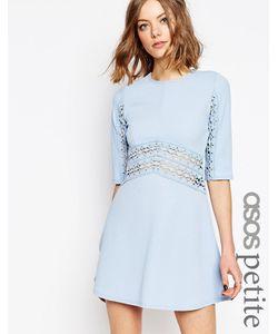 ASOS PETITE | Приталенное Платье С Кружевной Вставкой Бледно-Синий