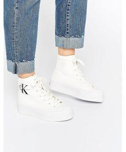 Calvin Klein | Белые Парусиновые Высокие Кроссовки Jeans Zabrina Белый
