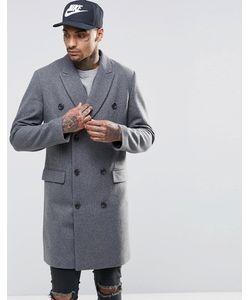 Asos | Двубортное Полушерстяное Пальто В Крапинку Светло-Серый