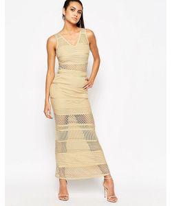 WOW Couture | Бандажное Платье С Сетчатыми Вставками Песок