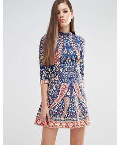Comino Couture | Платье Мини С Отделкой Бисером Многоцветный Темно-Синий