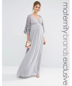 Maya Maternity | Плиссированное Платье Макси С Кружевными Рукавами Для Беременных
