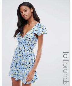 Influence Tall | Чайное Платье С Мелким Цветочным Принтом Синий