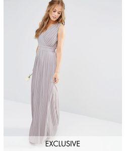 TFNC | Платье Макси С Запахом И Складками Wedding Опаловый Серый