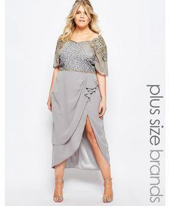 Virgos Lounge Plus | Платье Миди С Отделкой И Разрезом До Бедра