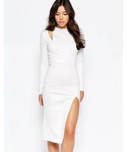 Twin Sister | Платье Миди С Вырезами На Плечах Кремовый