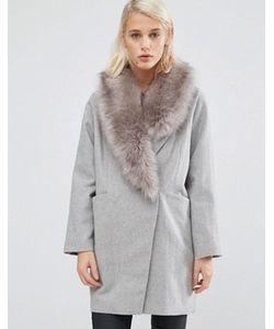 Asos | Пальто С Добавлением Шерсти Со Съемным Асимметричным Меховым Воротником