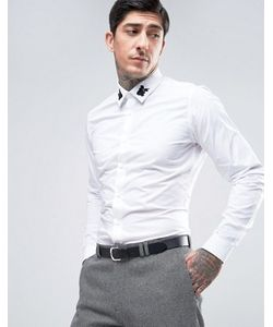Devils Advocate | Приталенная Рубашка С Черными Вышитыми Розами На Воротнике Premium