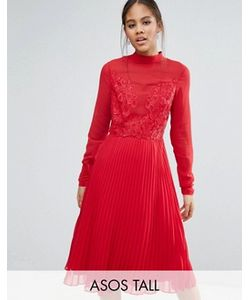 ASOS TALL | Плиссированное Платье Миди С Высокой Горловиной И Кружевной Отделкой