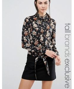 Fashion Union Tall | Блузка С Цветочным Принтом И Узлом Спереди