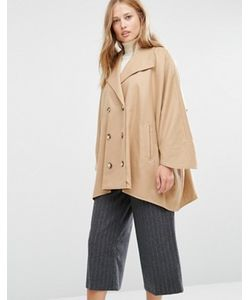 Cooper & Stollbrand | Бежевое Короткое Двубортное Пальто В Стиле Oversize