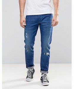 Pepe Jeans | Синие Выбеленные Джинсы Узкого Кроя Pepe