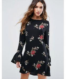 MISSGUIDED | Цельнокройное Платье С Цветочным Принтом И Расклешенным Рукавом