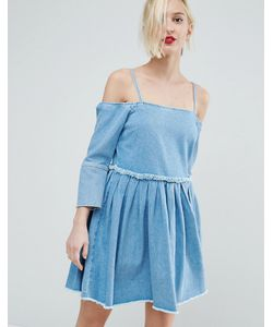 Asos | Выбеленное Голубое Джинсовое Платье С Открытыми Плечами И Складками