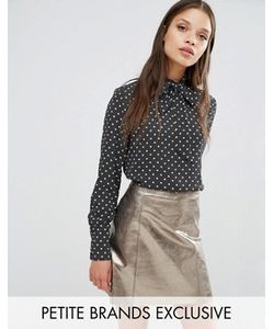 Fashion Union Petite   Блузка В Горошек С Завязкой У Горловины Drew