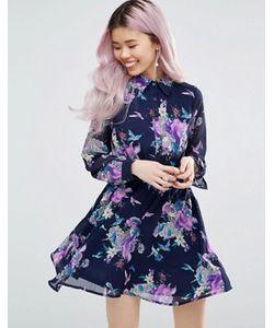 Yumi | Платье-Рубашка С Длинными Рукавами И Цветочным Принтом