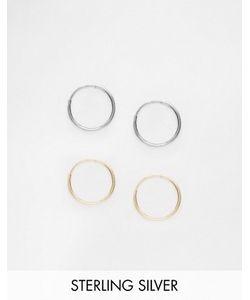 Asos | Комплект Из 2 Серебряных Серег-Колец Диаметром 9 Мм