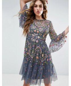 Needle & Thread | Платье Миди С Декоративной Отделкой Needle And Thread Garden