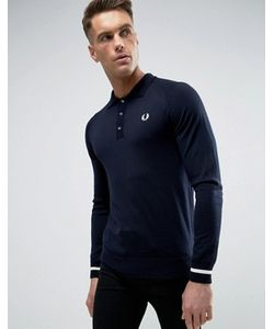 Fred Perry Laurel Wreath | Fred Perry Reissues Knit Polo Long Sleeve Tipped Cuff In Navy/