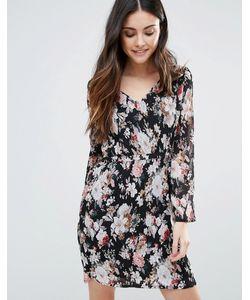 Minimum | Приталенное Платье С Длинными Рукавами И Принтом