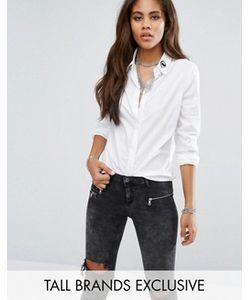 Noisy May Tall | Однотонная Рубашка С Вышивкой На Воротнике