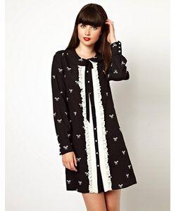 Nishe | Платье-Рубашка С Вышитыми Бантиками И Оборкой Спереди