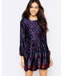 Mela Loves London | Короткое Приталенное Платье С Длинными Рукавами И Цветочным Принтом Mela Loves