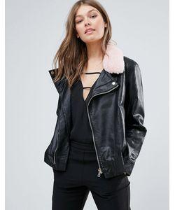 Goldie | Куртка Из Полиуретана С Воротником Из Искусственного Меха Пастельно-Розового Цвета