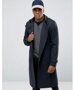 Asos | Серое Меланжевое Двубортное Пальто Из Шерстяной Смеси