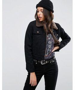 Asos | Черная Укороченная Джинсовая Куртка С Воротником Борг