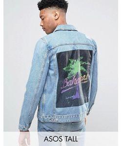 Asos   Выбеленная Джинсовая Куртка С Принтом На Спине Tall