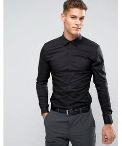 Asos | Черная Супероблегающая Рубашка Стретч