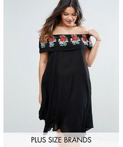 Diya | Платье С Открытыми Плечами И Вышивкой На Оборке Plus