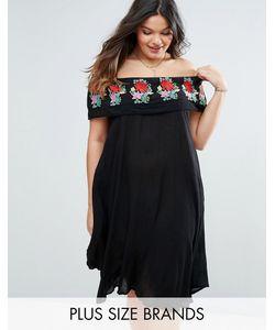 Diya | Plus Bardot Dress With Embroide Frill