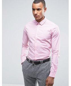 Asos | Розовая Строгая Узкая Рубашка В Клетку