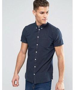 Minimum | Темно-Синяя Облегающая Рубашка В Мелкий Горошек На Пуговицах С Короткими Рукавами
