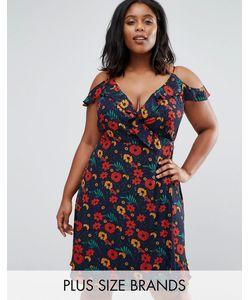 Koko | Платье С Запахом Оборками И Цветочным Принтом Plus