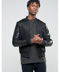 BL7CK | Сетчатая Курткапилот С Рукавами Из Искусственной Кожи