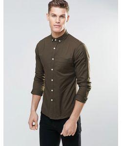 Asos | Оксфордская Зауженная Рубашка С Длинными Рукавами Mid Khaki