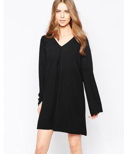 Minimum | Свободное Платье С Длинными Рукавами И V-Образным Вырезом Moves