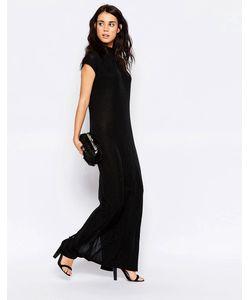 ICHI | Цельнокройное Платье Макси Без Рукавов С Высокой Горловиной Черный