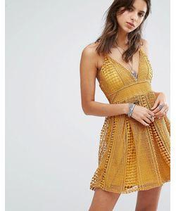 MISSGUIDED | Короткое Приталенное Кружевное Платье Оранжевый